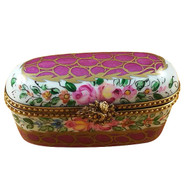 Oblong Burgundy With Flowers Rochard Limoges Box