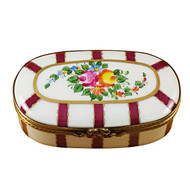 Oval Burgundy Stripes With Flowers Rochard Limoges Box