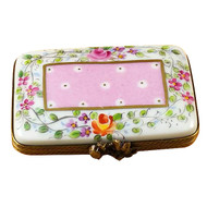 Flat Pink Rectangle W/Flowers Rochard Limoges Box