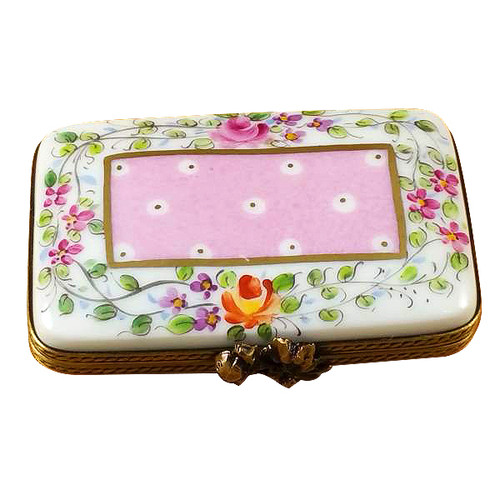 Flat Pink Rectangle W/Flowers Rochard Limoges Box