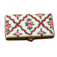Flat Rectangle With Burgundy Stripes And Flowers Rochard Limoges Box