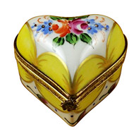 Yellow Heart W/ Flowers Rochard Limoges Box