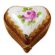 Burgundy Heart W/Flowers Rochard Limoges Box