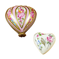 Heart W/Pink Stripes & Flowers Rochard Limoges Box