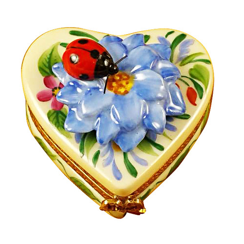 Heart Blue Flower W/Ladybug Rochard Limoges Box