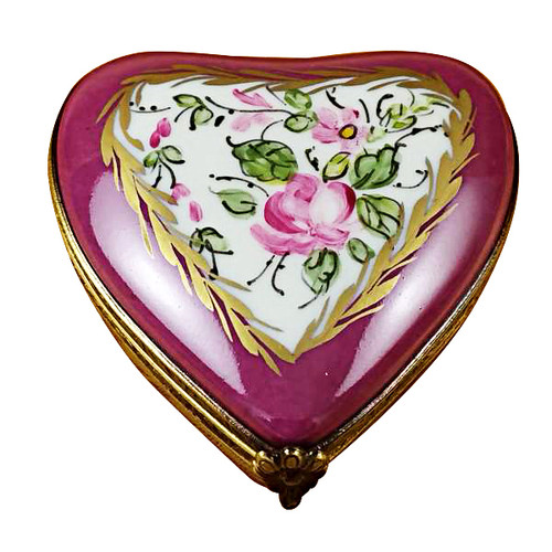 Burgundy Heart With Flowers Rochard Limoges Box