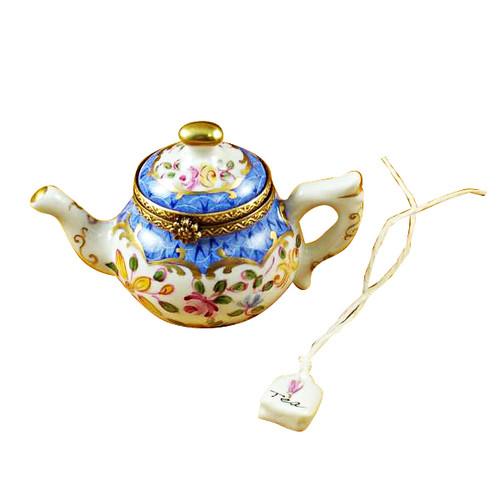 Teapot Blue Scales W/Tea Bag Rochard Limoges Box