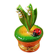 Lily Of The Valley W/Ladybug In Pot Rochard Limoges Box