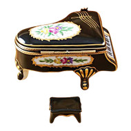 Grand Piano Floral With Porcelain Bench Rochard Limoges Box