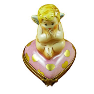 Angel On Pink Heart Rochard Limoges Box