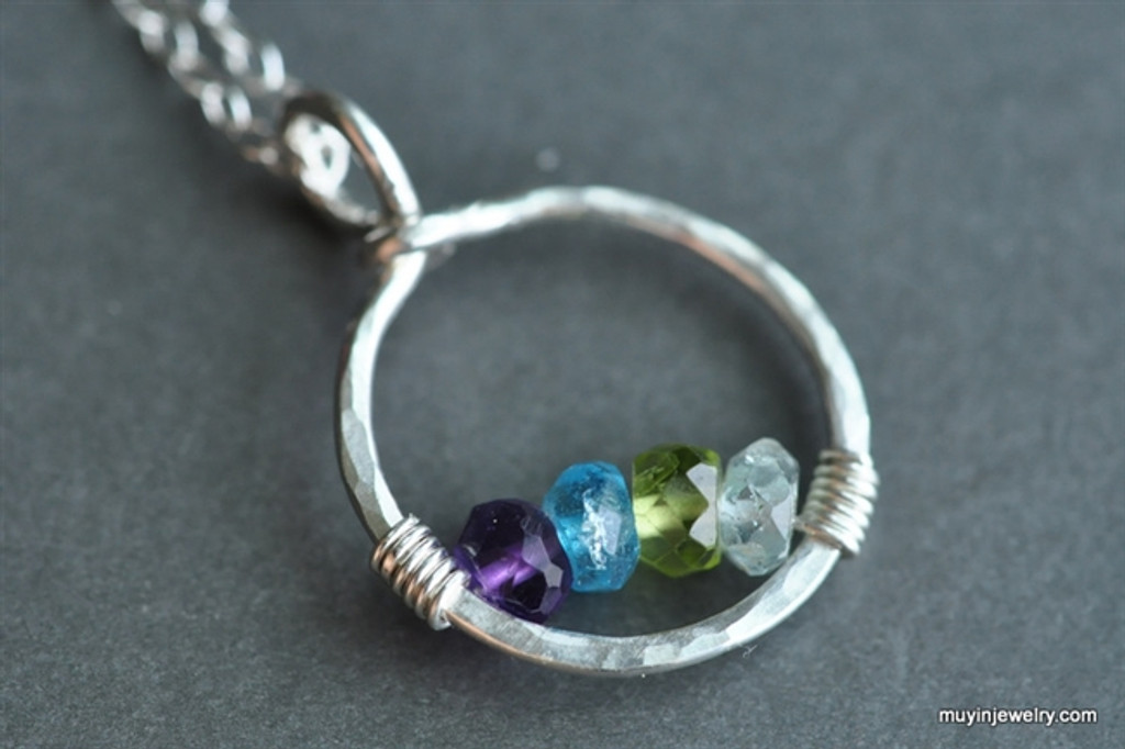 mother's grandmother's birthstone necklace 4 stones genuine gemstones