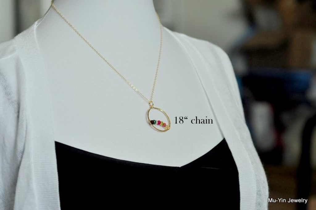 CIRCLE OF LOVE (Large / 1 inch) mother's birthstone necklace