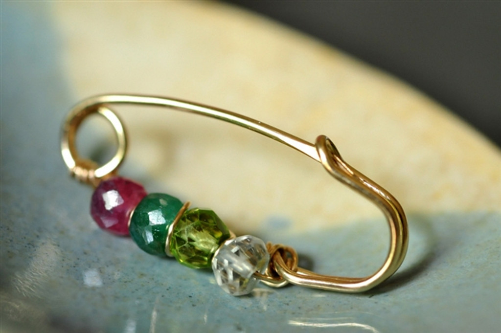 customized mother's grandmother's birthstone brooch