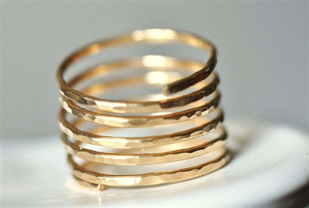 wide modern hammered wire ring - muyinjewelry.com