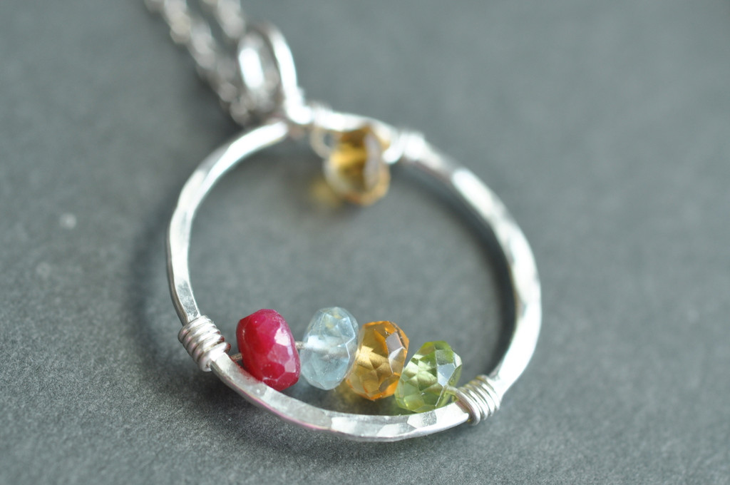 CIRCLE OF LOVE mommy necklace / genuine birthstones - build your own (double arcs)