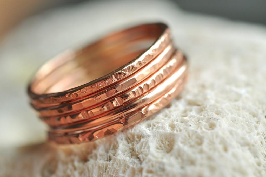 skinny textured stacking ring set of 5 in 14k rose gold filled
