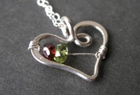 mothers grandmothers birthstone heart necklace genuine gemstones two 2 stone - muyinjewelry.com