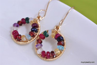 WE ARE FAMILY grandmother's birthstone earrings