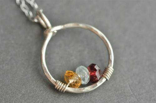 mother's grandmother's birthstone necklace 3 stones genuine gemstones sterling silver