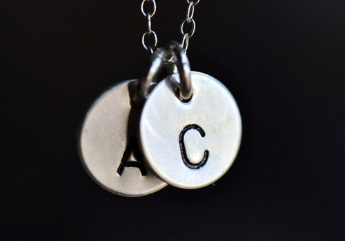 custom stamped initial necklace