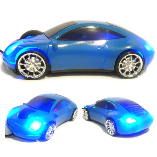 Optical Mouse USB Sports Car Porche-Style Blue