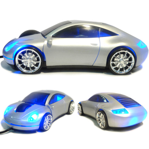 Optical Mouse USB Sports Car Porche-Style Silver