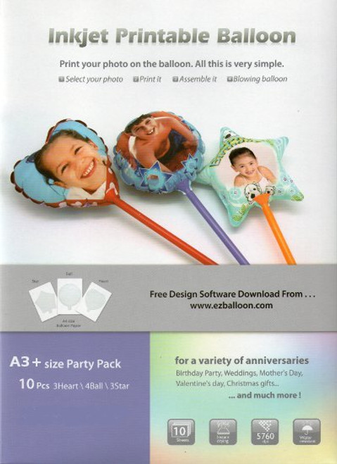 Inkjet Printable Balloons A3+ Size 10pcs (Party Pack)