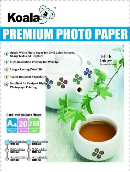 260gm A4 DS High Gloss/Matte Photo (20 Sheets)