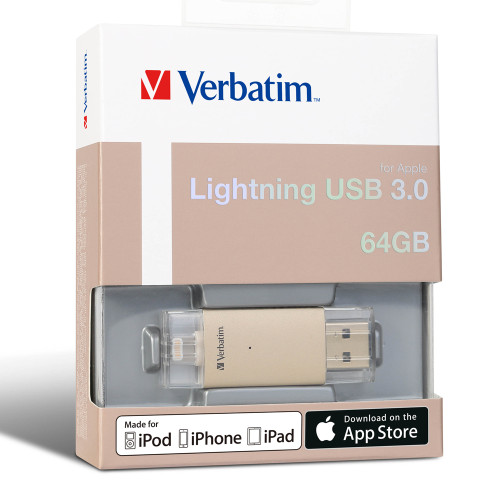 Verbatim Apple Lightning and USB 3.0 Drive, 64GB - Gold
