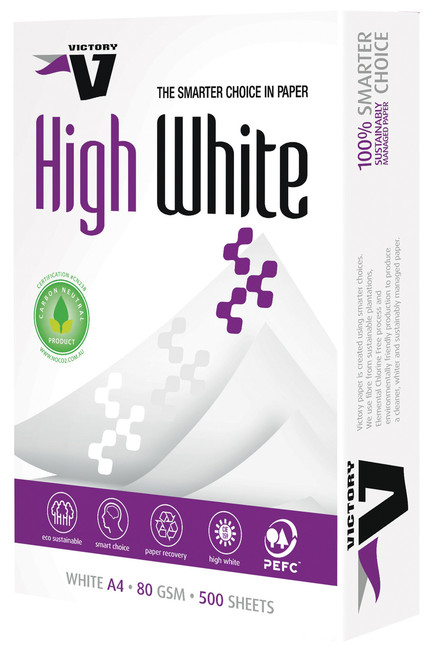 COPY PAPER VICTORY A4 80GSM HIGH WHITE BOX (5 REEMS)