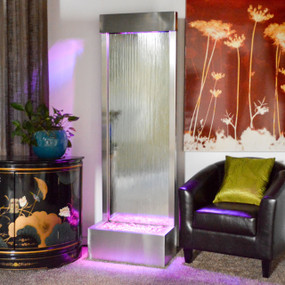6' Gardenfall Silver Mirror and Brushed Stainless Steel Floor Fountain With LED Lights