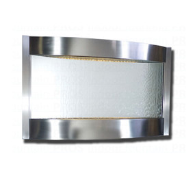 Contempo Luna Horizontal Stainless Steel and Silver Mirror Indoor Wall Fountain