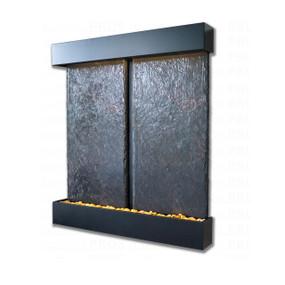 Double Nojoqui NSI Lightweight Slate Wall Fountain with Black Onyx Trim