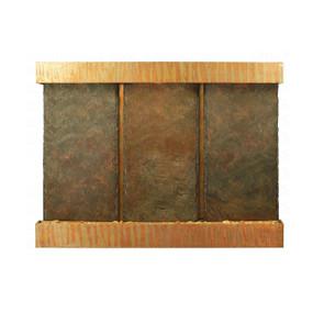 Triple Nojoqui NSI Lightweight Slate Wall Fountain with Copper Patina Trim