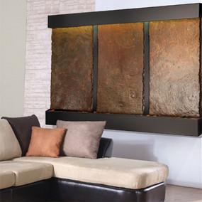 Triple Nojoqui NSI Lightweight Slate Wall Fountain with Black Onyx Trim