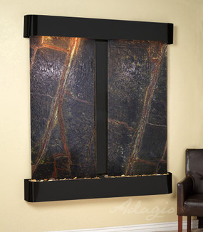Cottonwood Falls Wall Fountain with Antique Black Copper Trim and Green Marble with Rounded Corners