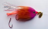 Kokanee Trolling Fly - Hot Orange/Hot Pink - Rigged