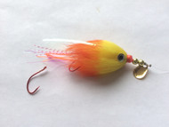 Kokanee Trolling Fly - Hot Orange/Yellow - Rigged