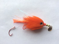 Kokanee Trolling Fly - Hot Orange - Rigged