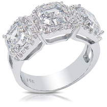 Avalon Three Stone Asscher Halo Designer CZ Ring, 4.05 Carats TW
