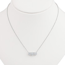 Avery Three Stone Rounds Cubic Zirconia Fixed Necklace