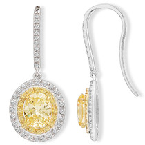 Luna Oval Canary CZ Double Halo Shepherd Hook Drop Earrings