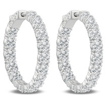 Remi Front Facing CZ Oval Shaped Hoops, 11.0 Carats Total