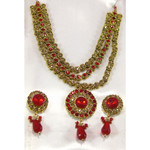 Red Gold Earring Necklace Set