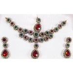 Red Green White Necklace Earring Set