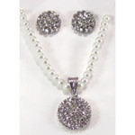 White Crystal Earring Necklace Set
