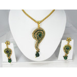 Green Crystal Gold Colored Necklace and Earring Set