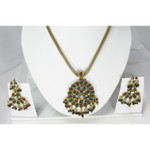 Red Green White Crystal Cluster Necklace and Earring Set