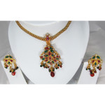 Red Green White Crystal Bloom Necklace and Earring Set