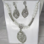 White Crystal Leaf Necklace and Earring Set